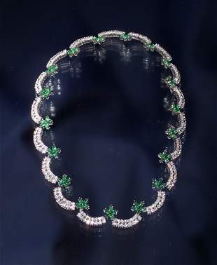 13CT 18K DIAMOND AND EMERALD NECKLACE