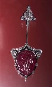 1026: CARTIER DECO RUBY DIAMOND JABOT PIN