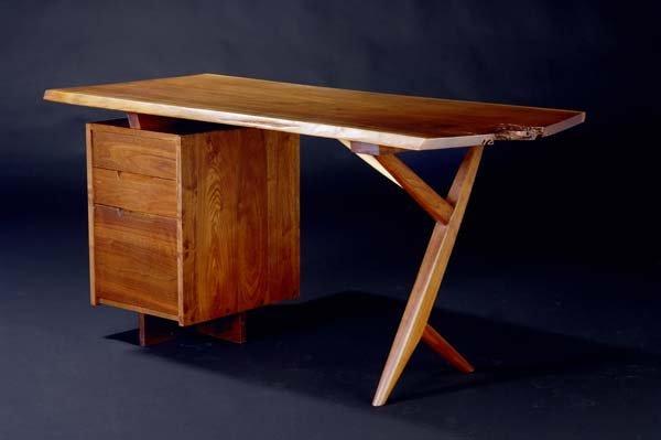 5: GEORGE NAKASHIMA Walnut Conoid free-edge desk. Compl