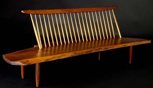 7: GEORGE NAKASHIMA Walnut Conoid Bench with Back, its