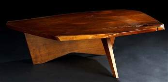 11: GEORGE NAKASHIMA Walnut Conoid coffee table, its fr