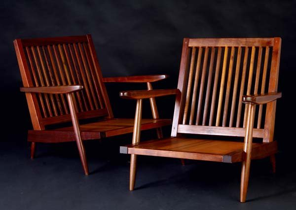 14: GEORGE NAKASHIMA Pair of walnut Cushion Chairs with
