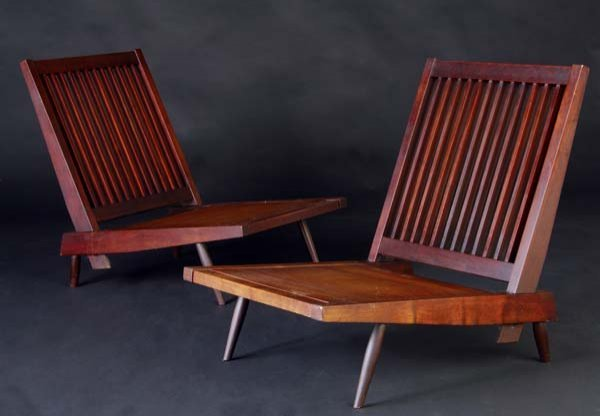 15: GEORGE NAKASHIMA Pair of walnut Cushion Chairs with