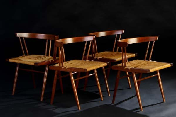 24: GEORGE NAKASHIMA Set of four Grass Seated chairs. (