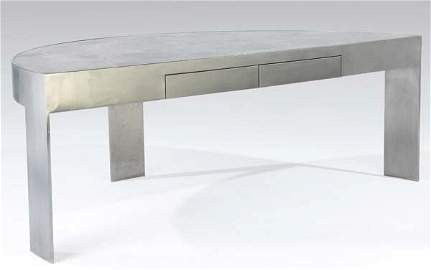 60: MODERN Brushed stainless steel two-drawer desk with