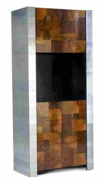 433: PAUL EVANS Cityscape illuminated cabinet with chro