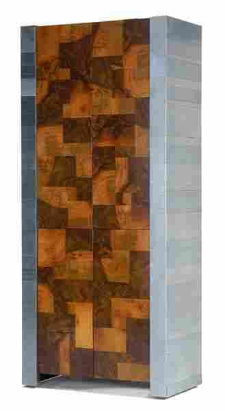 434: PAUL EVANS Cityscape illuminated cabinet with chro