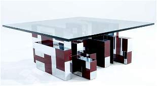 435 PAUL EVANS Cityscape coffee table of polished chro