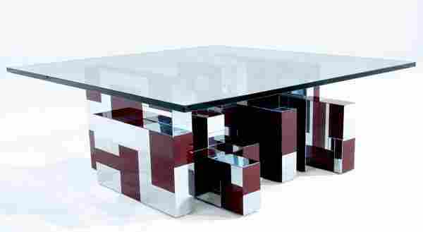 435: PAUL EVANS Cityscape coffee table of polished chro