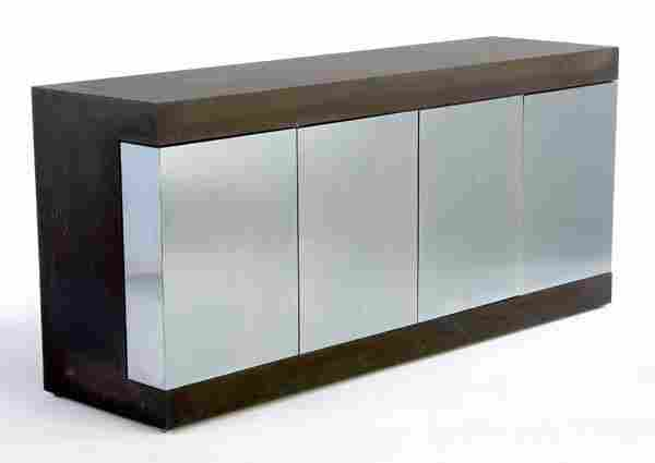 437: PAUL EVANS Cityscape credenza with chrome-plated s