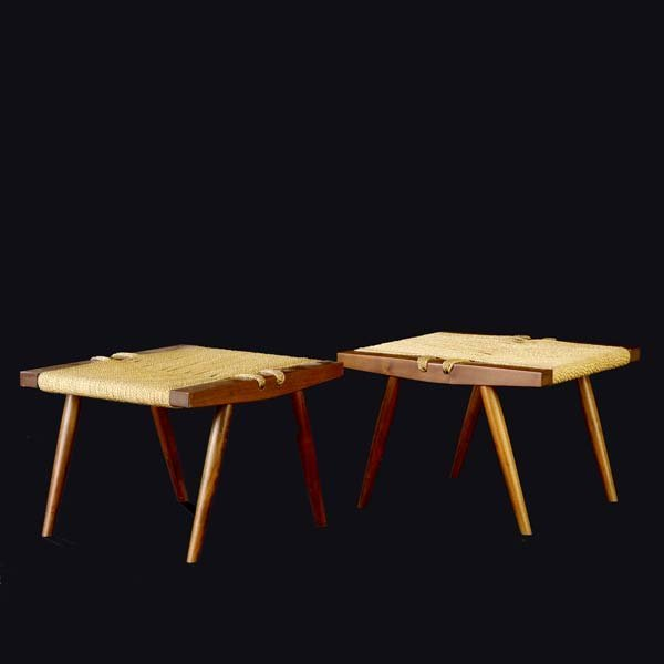 1003: GEORGE NAKASHIMA Pair of walnut Grass-Seated stoo