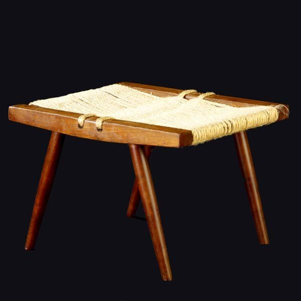 1006: GEORGE NAKASHIMA Walnut Grass-Seated stool. (Prov