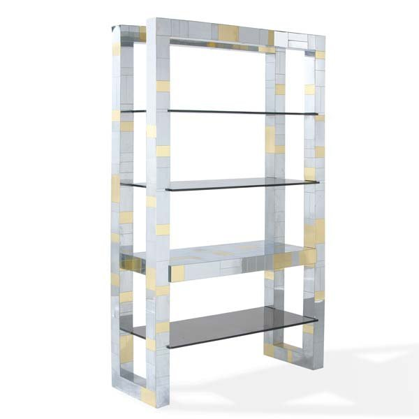 1011: PAUL EVANS Cityscape wall unit with smoked glass
