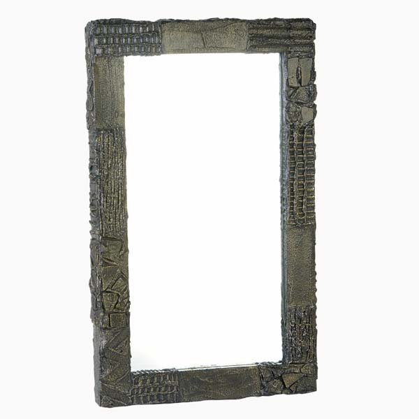 1013: PAUL EVANS Sculpted Bronze wall mirror, 1970. Sig