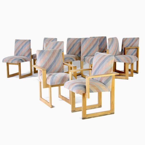 1016: VLADIMIR KAGAN Set of ten oak Cubist dining chair