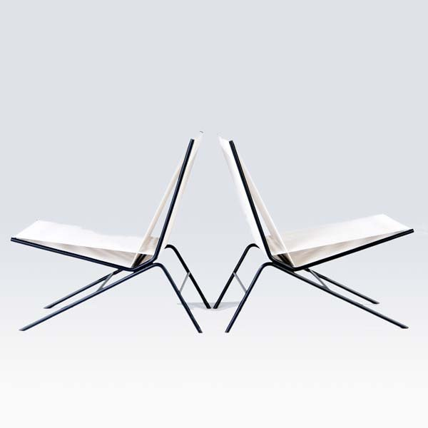 1151: ALLEN GOULD Pair of String chairs on tubular blac