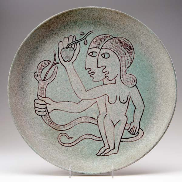 1156: SCHEIER Charger depicting Adam and Eve outlined i