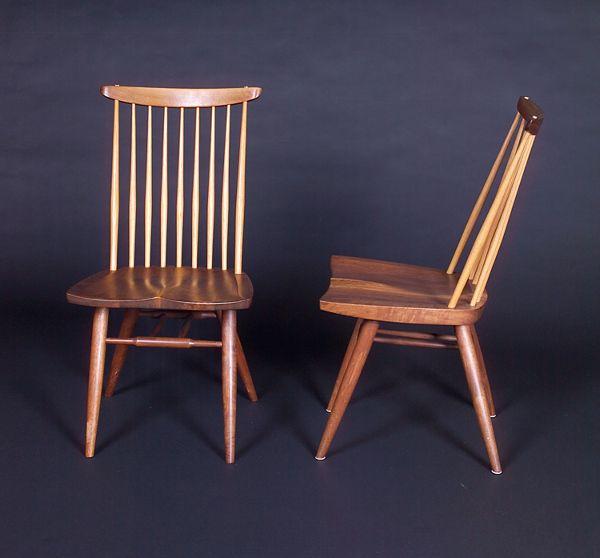 GEORGE NAKASHIMA Pair of walnut New sidechairs with