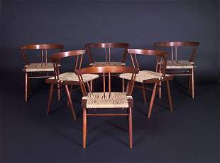 GEORGE NAKASHIMA Six Grass-seat chairs with arched