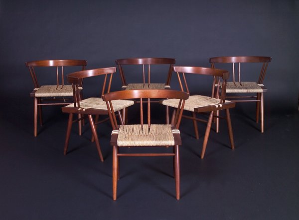 20: GEORGE NAKASHIMA Six Grass-seat chairs with arched
