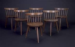 GEORGE NAKASHIMA Six walnut Mira chairs, each with