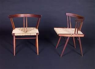 GEORGE NAKASHIMA Pair of walnut Grass-seat chairs w