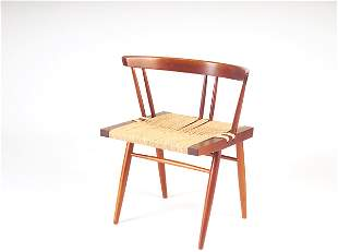 GEORGE NAKASHIMA Grass-seat chair with arched back