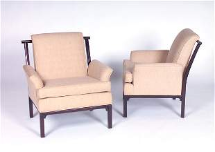 JAMES MONT Pair of armchairs in the Chinese style,