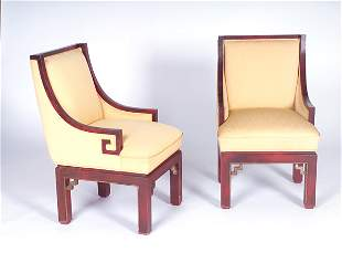 JAMES MONT Pair of Chinese-style chairs upholstered
