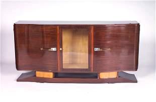 JULES LELEU (Attr.) Rosewood and amboyna sideboard