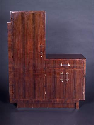 JACQUES ADNET Rosewood wardrobe with single drawer