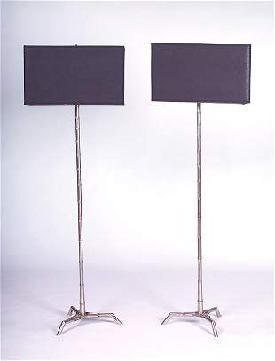 BAGUES Pair of floor lamps, each with black fabric