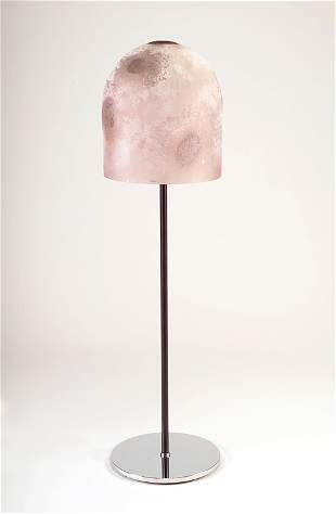 BARBINI Chrome and black enameled floor lamp with t