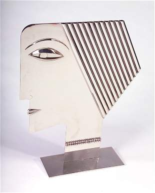HAGENAUER Fine and large polished chrome sculpture