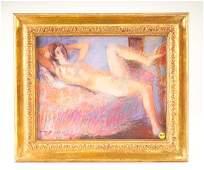 616: Warren Brandt; Reclining Nude; pastel on paper; 12