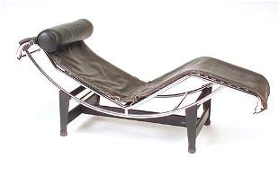 """LE CORBUSIER/CASSINA """"LC 4"""" lounge chair with blac"""
