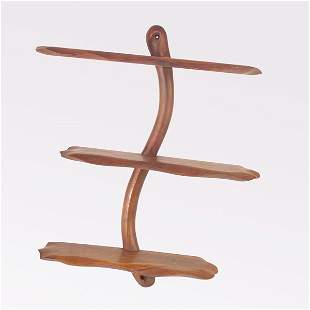 NEW HOPE SCHOOL Walnut wall-hanging unit with thre