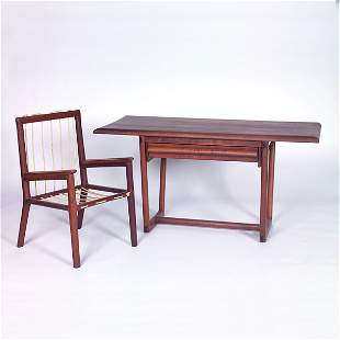 AMERICAN CRAFT MOVEMENT Armchair and desk, the cha