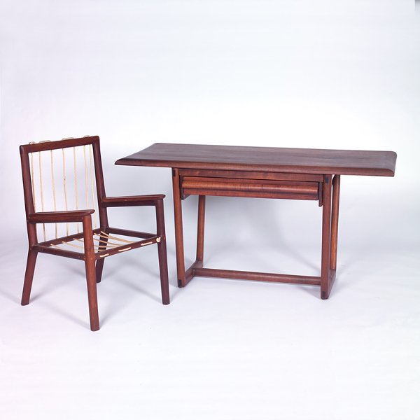 708: AMERICAN CRAFT MOVEMENT Armchair and desk, the cha