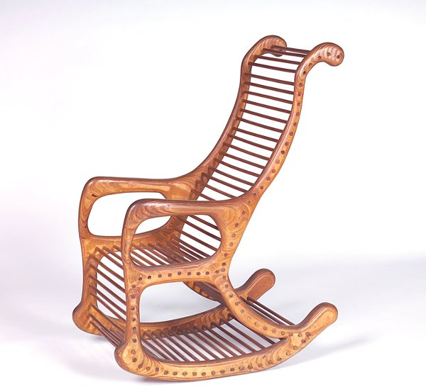 709: RICHARD DICE Doweled birch rocker, c. 1970, with c