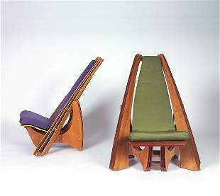 STYLE OF FRANK LLOYD WRIGHT Two molded and painted