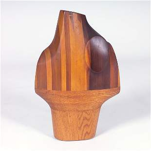 G.J. TOVANY Carved and laminated wood bust, 1967,