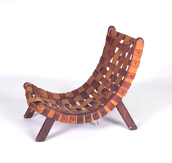713: NEW HOPE SCHOOL Wooden lounge chair with curved se