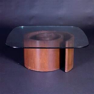"VLADIMIR KAGAN ""Snail"" coffee table with round-edg"