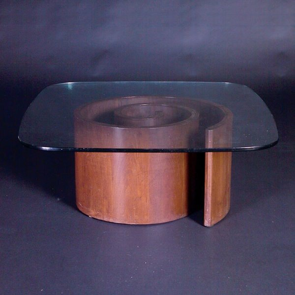 "715: VLADIMIR KAGAN ""Snail"" coffee table with round-edg"