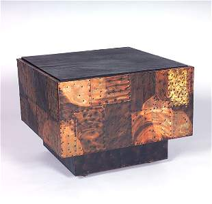 PAUL EVANS Cube table with inset slate top and riv
