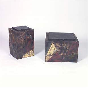 PAUL EVANS Two Sculpted Steel cube end tables, eac