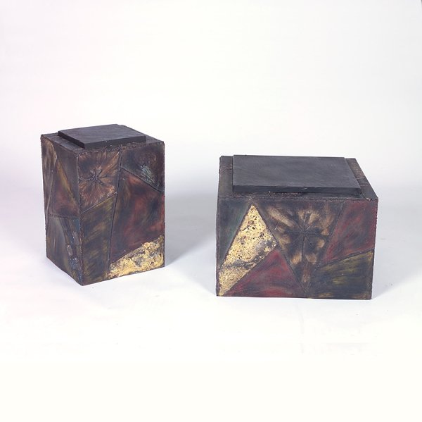 719: PAUL EVANS Two Sculpted Steel cube end tables, eac