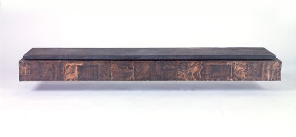 720: PAUL EVANS Wall-hanging shelf with slate top and r