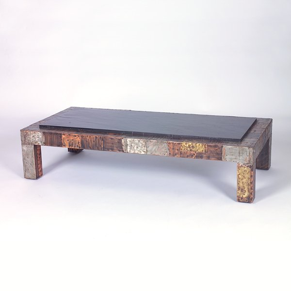 721: PAUL EVANS Rectangular coffee table with raised sl
